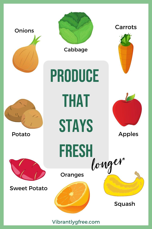 Produce that stays fresh longer Pinterest Graphic